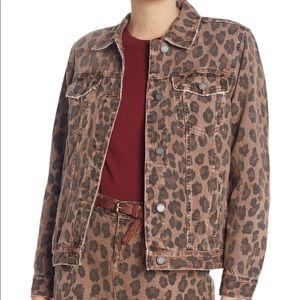BlankNYC Leopard Cheetah Jean Jacket Size S